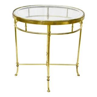 Vintage Brass Beveled Glass Top Table