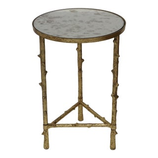 Metal Mirror Top Accent Sofa Side Table