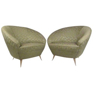 Italian Modern Lounge Chairs in the Style of Ico Parisi - A Pair For Sale