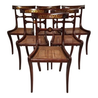Early 19th Century English Regency Style Brass Inlaid Stained Beech Chairs-Set of 6 For Sale