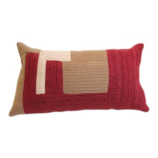 100% Cashmere Patchwork Throw Pillow