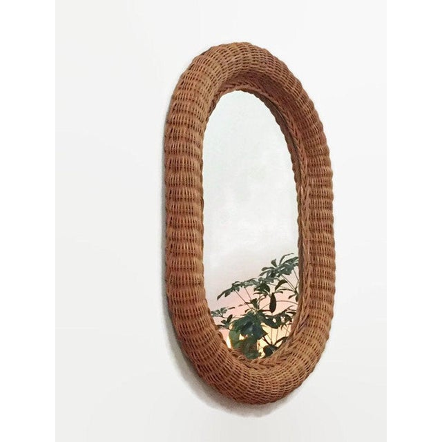 1970s Vintage Natural Wicker Rattan Oblong Wall Mirror For Sale - Image 5 of 10