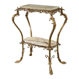Antique French Louis XIV Gilt Bronze and Onyx Side Table For Sale
