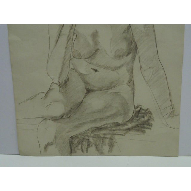 """Mid 20th Century Mid-Century Modern Original Drawing on Paper, """"Nude in Deep Thought"""" by Tom Sturges Jr For Sale - Image 5 of 6"""