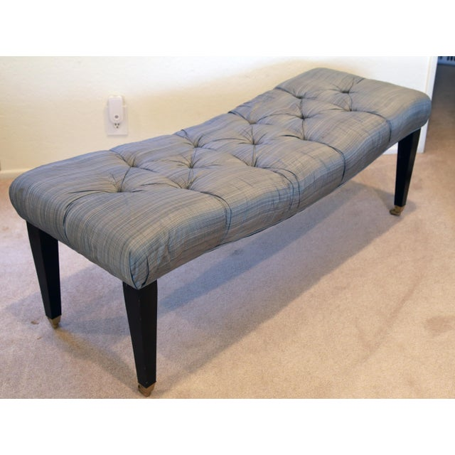 Transitional Vintage Curvy Tufted Bench For Sale - Image 3 of 5