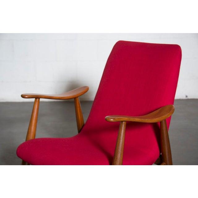 Mid-Century Magenta Upholstery Teak Lounge Chair - Image 7 of 10