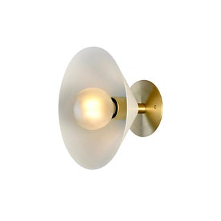 2019 Blueprint Lighting Focal Point Wall Sconce in Brass and White Enamel For Sale