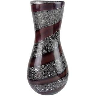 Giulio Radi AVeM Mauve Stripe Silver Leaf Black Italian Art Glass Flower Vase For Sale