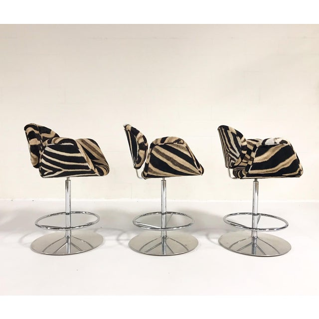 Mid 20th Century Vintage Pierre Paulin Tulip Bar Stool Chairs Restored in Zebra Hide - Set of 3 For Sale - Image 5 of 9