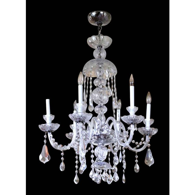 Metal Salvaged Waldorf Six Glass Arms Crystal Chandelier For Sale - Image 7 of 7