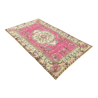 Vintage Hand Knotted Pink Area Rug For Sale