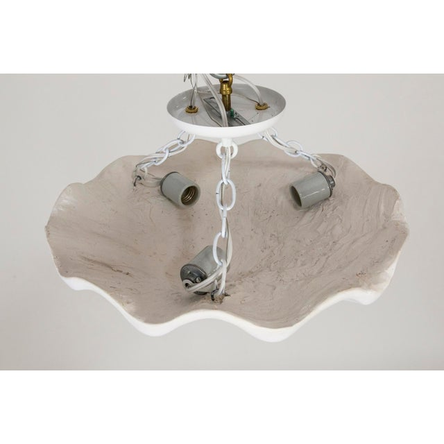 Contemporary Circular Undulating Smooth Plaster Shell Pendant For Sale - Image 3 of 6