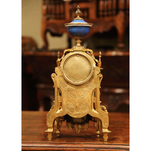 19th Century French Louis XVI Gilt Metal and Porcelain Mantel Clock For Sale - Image 9 of 11