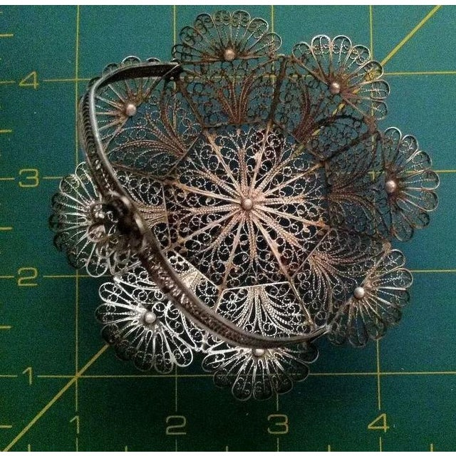 Silver Lovely Doll's Silver Filigree Handled Basket For Sale - Image 8 of 9