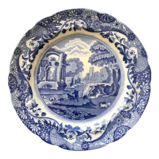 Vintage Spode Copeland Italian Blue and White Plate For Sale