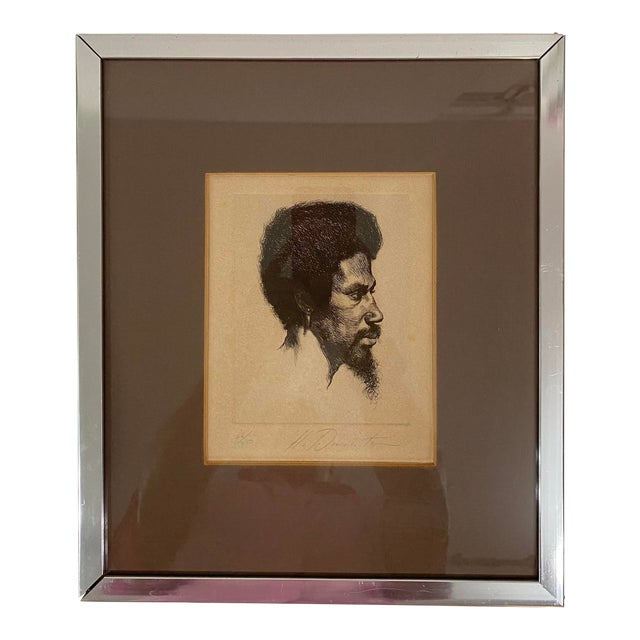 1960s Portrait of a Black Male Etching Numbered 26/250, Framed For Sale