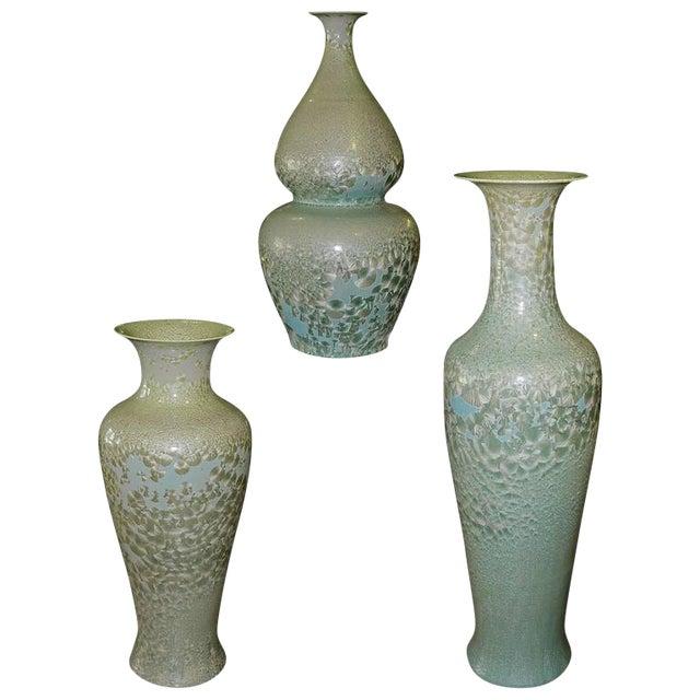 Set of Three Celadon Porcelain Floor Vases For Sale