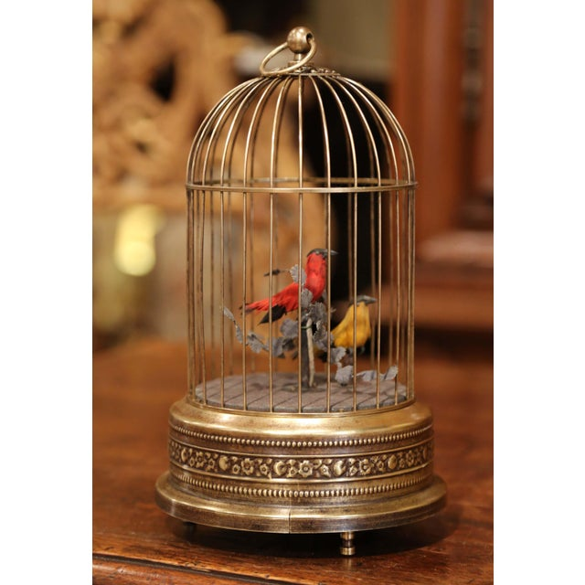 19th Century French Automaton Brass Cage With Two Singing Birds For Sale In Dallas - Image 6 of 9