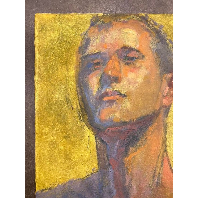 This original artwork on canvas by artist Bruce Knecht, is a portrait of a man. The background of the artwork is done in...