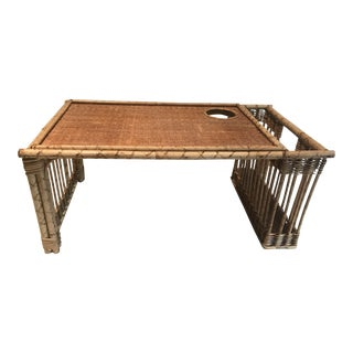 Vintage Boho Wicker and Bamboo Breakfast Tray For Sale