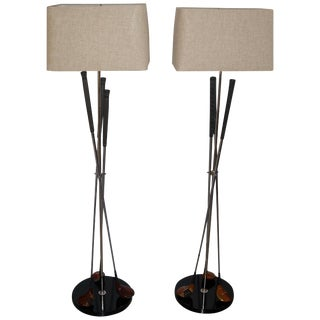 Golf Club Floor Lamps With Power Bilt, Pouette & Stan Thompson Clubs - a Pair For Sale