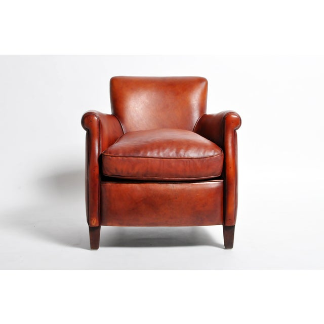 French Leather Armchairs - a Pair For Sale - Image 4 of 13