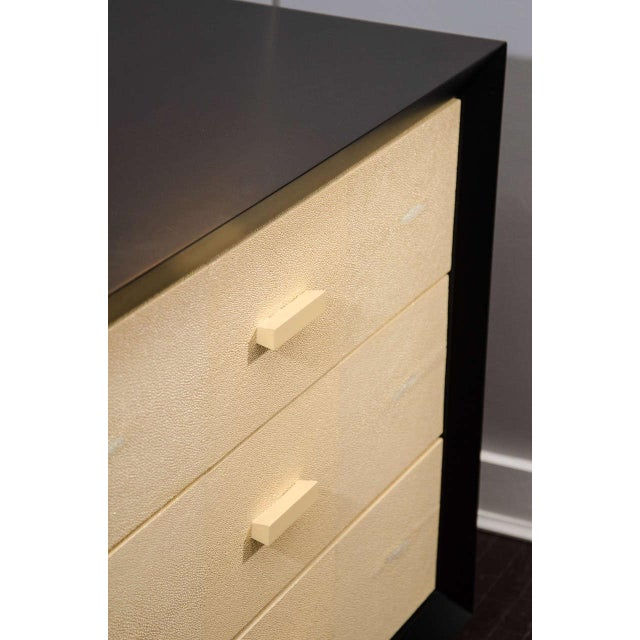 Venfield Pair of Custom Black Lacquer with Shagreen Dressers For Sale - Image 4 of 5
