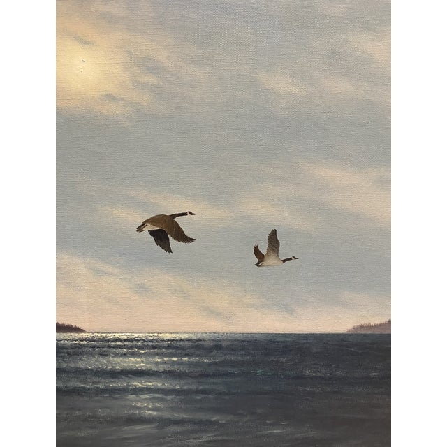 """""""Geese in Flight"""" Vintage Oil Painting For Sale - Image 4 of 11"""