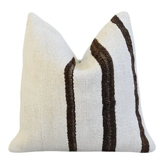 "Boho Chic Organic Hemp & Cotton Kilim Feather/Down Pillow 19"" Square For Sale"