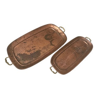 Brass Copper Hammered Decorative Serving Trays-A Pair For Sale
