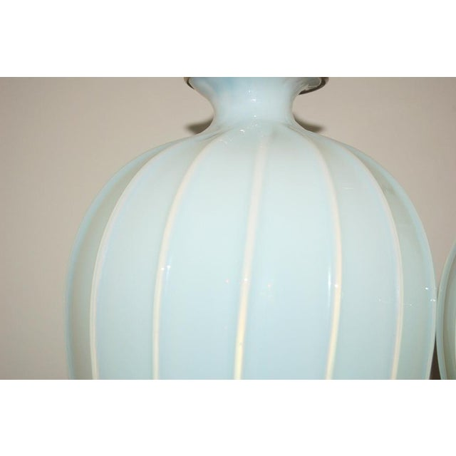 1950s Marbro Murano Opaline Glass Table Lamps White For Sale - Image 5 of 10