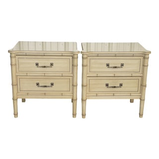 Vintage Henry Link Faux Bamboo Nightstands-A Pair For Sale