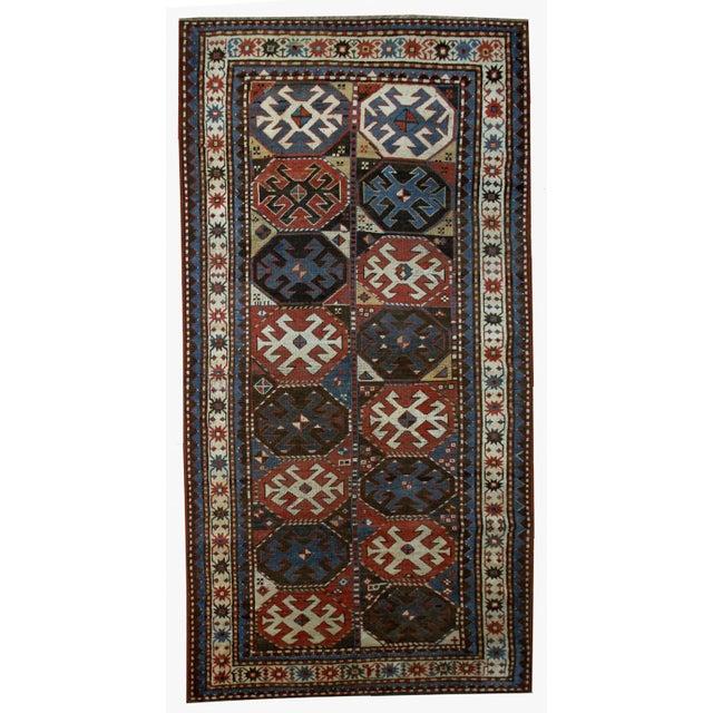 "Handmade Antique Caucasian Kazak Mohan Rug - 3'8"" X 8'2"" For Sale"