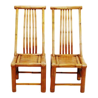Handmade High Back Bamboo Accent Chairs - a Pair For Sale