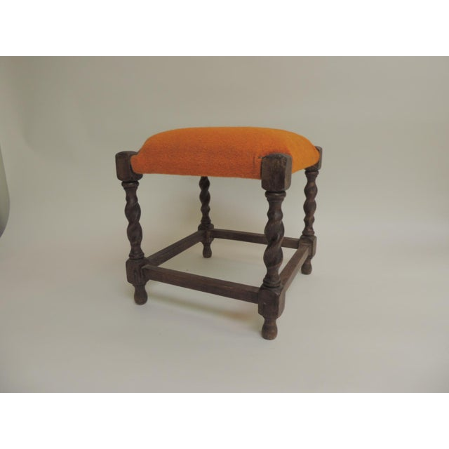 1950s Small Arts & Crafts Square Vintage Milking Stool For Sale - Image 5 of 5