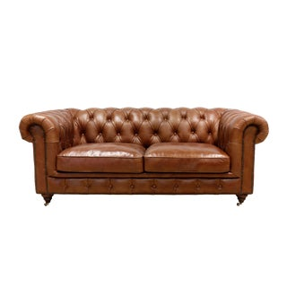 Pasargad Home Genuine Leather Chester Bay Tufted Loveseat For Sale