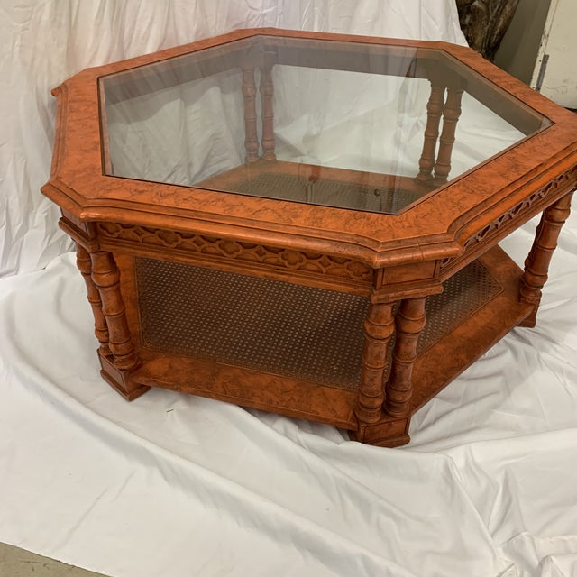 Hollywood Regency Orange Chinese Chippendale Coffee Table For Sale - Image 3 of 13