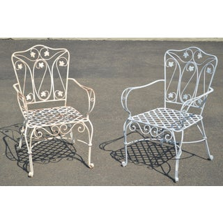 Quality Pair of Heavy Wrought Iron Garden Armchairs Preview