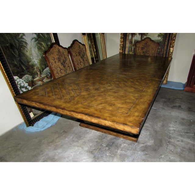 2000 - 2009 Rustic Matiland Smith Trestle-Base Parquet Top Dining Table For Sale - Image 5 of 13