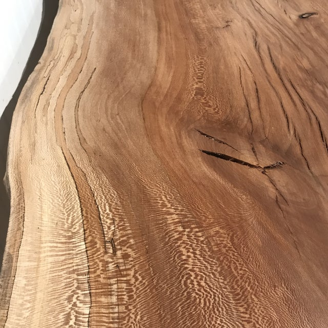 Organic Modern Live Edge Maple Slab Desk With Hairpin Legs For Sale - Image 9 of 12
