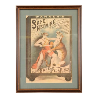 """Warner's Safe Nervine Tiger"" 1892 Advertising Poster For Sale"