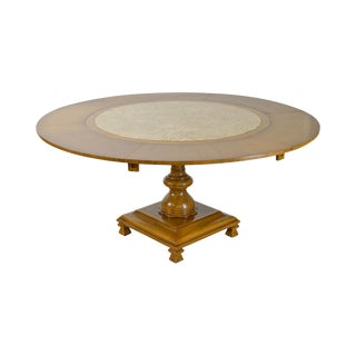 """Tomlinson Mid Century 42""""-62"""" Round Marble Top Pedestal Dining Table"""