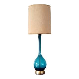 1950s Large Swedish Arthur Percy Gullaskruf Blue Glass Table Lamp For Sale