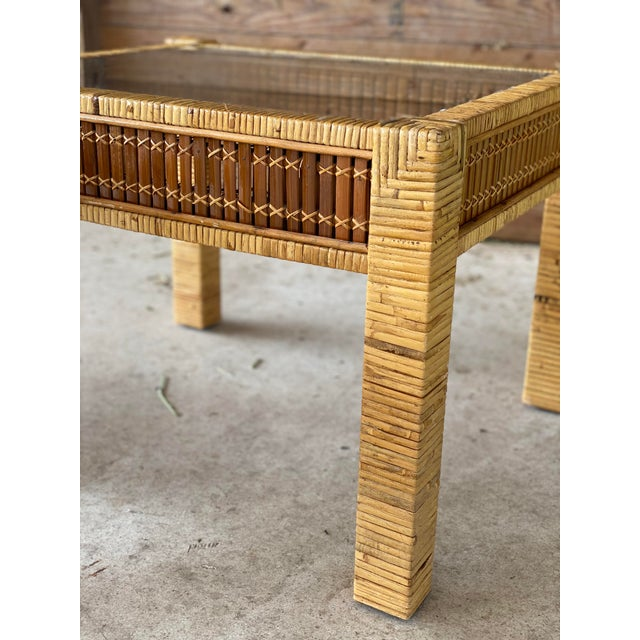 Vintage Wicker Wrapped Bamboo Insert Side Tables - a Pair For Sale - Image 10 of 13