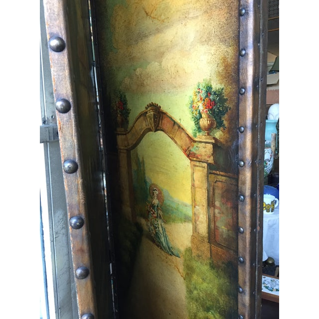 6 Ft Antique Painted Leather Screen W/ Pastural Scene For Sale - Image 4 of 10