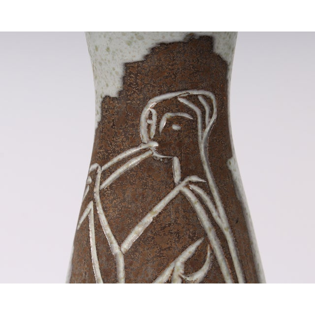 Ceramic Philippe Lambercy Mid-Century Swiss Cubist Style Flute Player Vase For Sale - Image 7 of 9