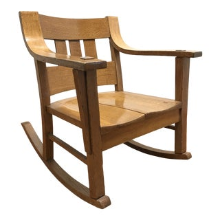 Mission Style Arts and Crafts Bentwood Quarter Sawn Oak Rocker For Sale