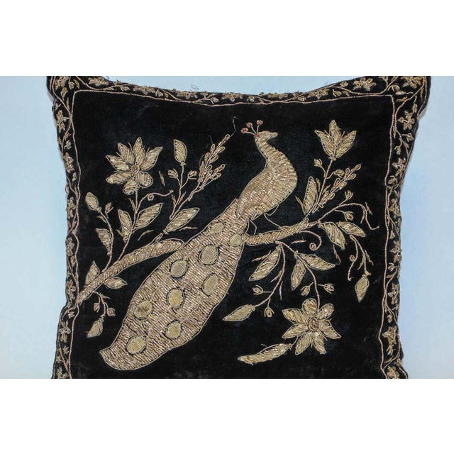 Metal Black Velvet Throw Pillow Embroidered with Metallic Moorish Gold Threads For Sale - Image 7 of 11