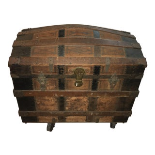 Dome Top Leather Wood & Metal Victorian Trunk