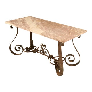 Outstanding Vintage French 40's Iron & Stone Console/Sofa Table For Sale